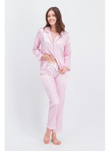 Arnetta Arnetta Basic Pembe Çizgili Kadın Saten Gömlek Pijama Pembe